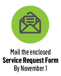 Mail the enclosed Service Request Form By November 1