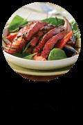 Grilled flank steak with BBQ veggies Button